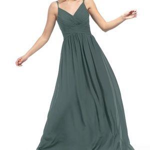 Azazie Blake long dress in Pewter